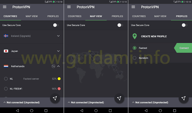 ProtonVPN Android interfaccia grafica completa