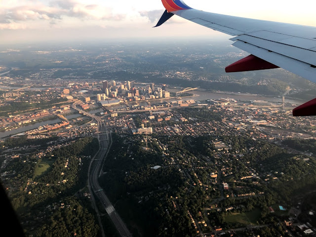 Ariel view of Pittsburgh from Southwest flight