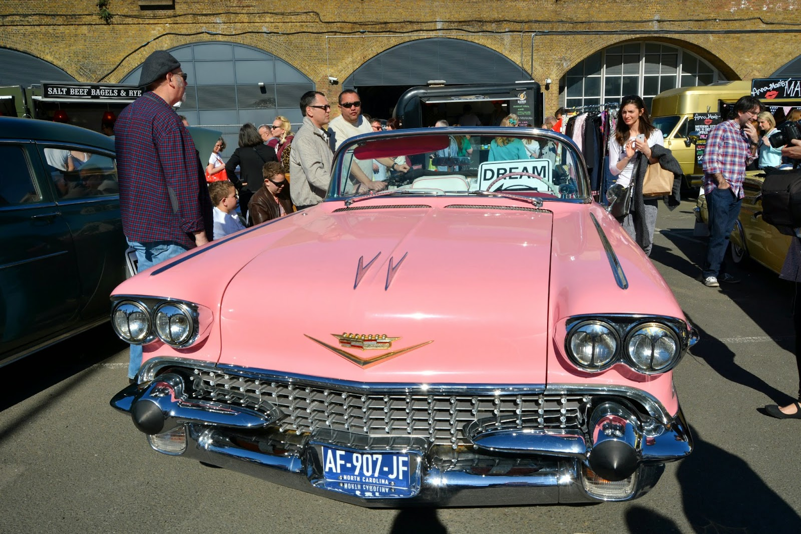 Pink Cadillac at the london classic car boot sale southbank