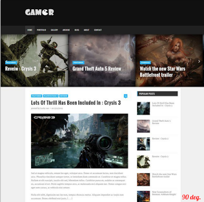 Gamer Blogger Template