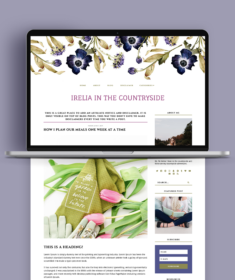 blog page for irelia in the countryside blogger theme