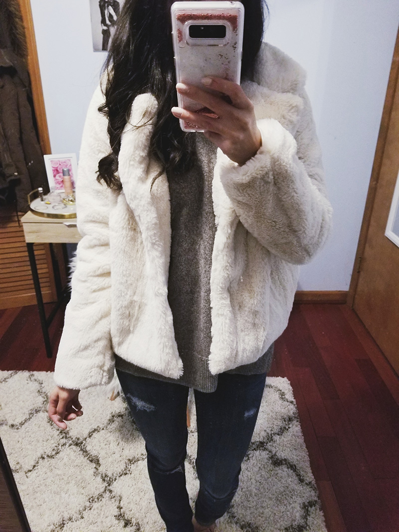 cream faux fur jacket outfit