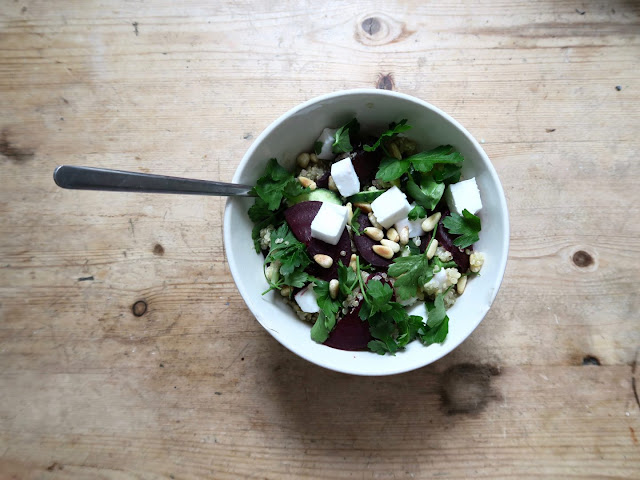 Winter salad with feta beetroot and seasonal leaves