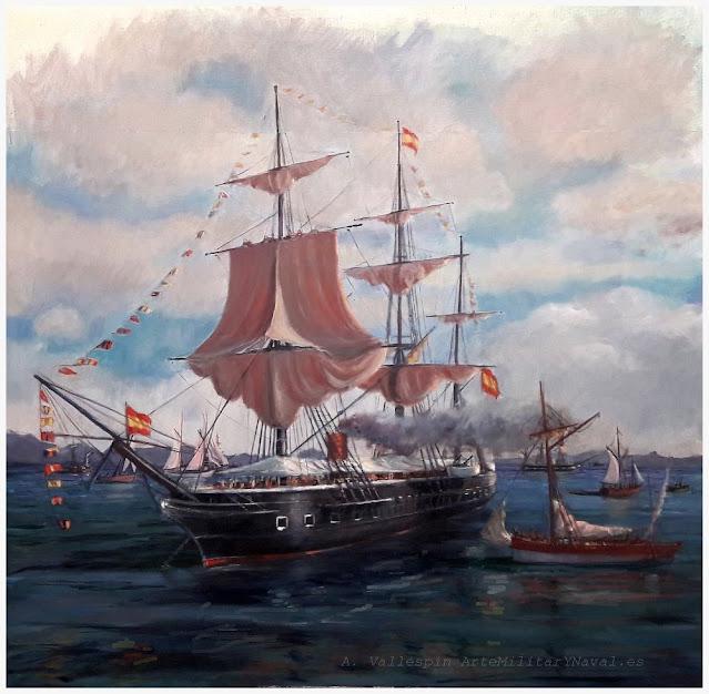 Óleo fragata a hélice Blanca de la Armada Española