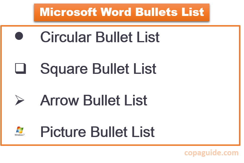 Types of Bullets in MS-Word Hindi Notes