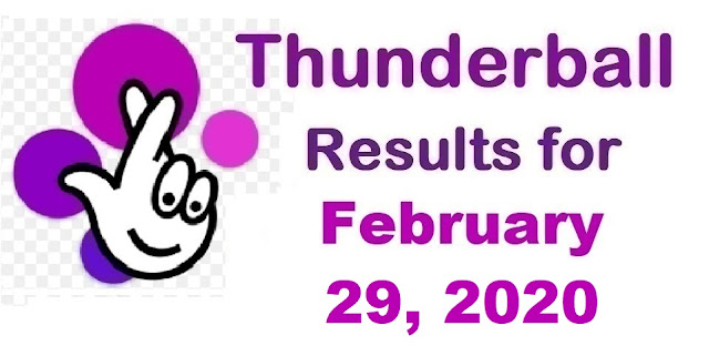 Thunderball results for Saturday, February 29, 2020