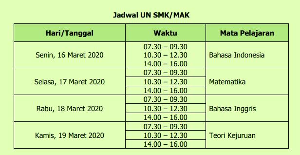 Jadwal UN UNBK SMK / MAK Tahun 2020 (Tahun Pelajaran 2019/2020)