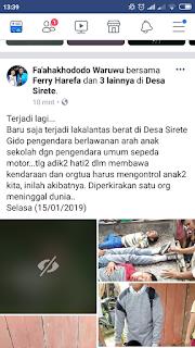 kecelakaan maut di desa sirete kecamatan gido