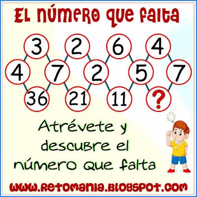 Piensa rápido, Ubica los números, Descubre los números, Retos matemáticos, Desafíos matemáticos, Problemas matemáticos, Solo para genios, Encuentra el número que falta, El número que falta, Descubre el número