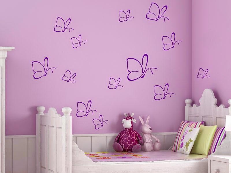 Dormitorio con mariposas colores en casa for Pegatinas de decoracion para dormitorios