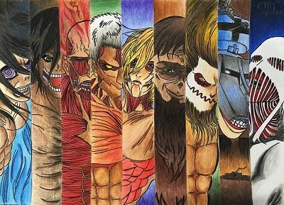 All the nine titans in Attack on Titan