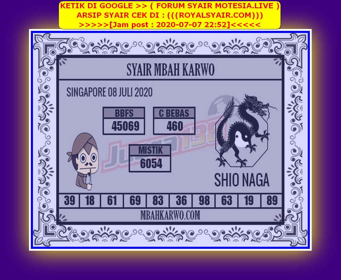 Kode syair Singapore Rabu 8 Juli 2020 251