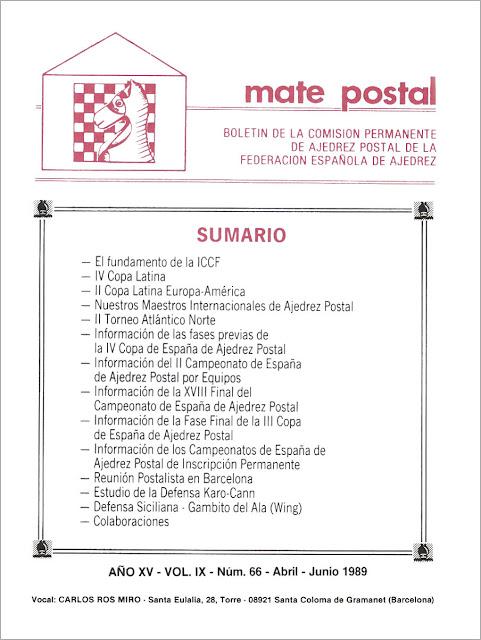 Mate Postal Nº66-Abril-Junio-1989