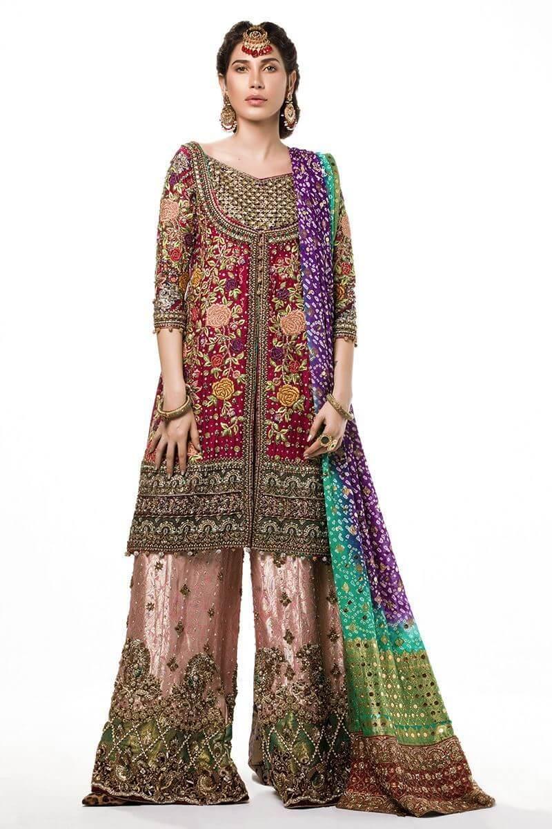 Deep pink front open shirt with chunri dupatta and dhaka pants