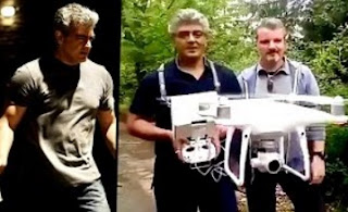 Ajith's operating and flying a DJI phantom 4 Drone Helicam – Vivegam Shooting Spot