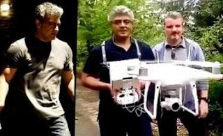Ajith's operating and flying a DJI phantom 4 Drone Helicam – Vivegam Shooting Spot