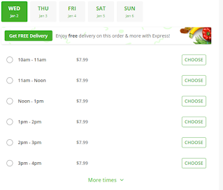 A screenshot showing Instacart's hiked delivery costs during peak times