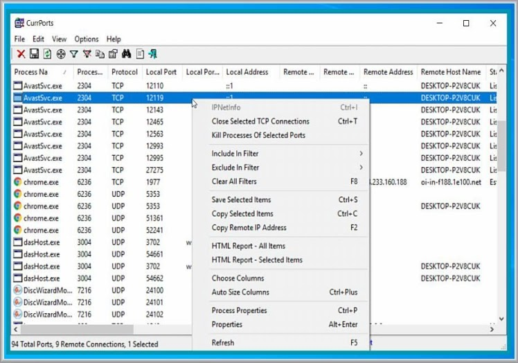 CurrPorts  :  Λογισμικό παρακολούθησης δικτύου  σχετικά με TCP / IP και για θύρες UDP  στον υπολογιστή σας.