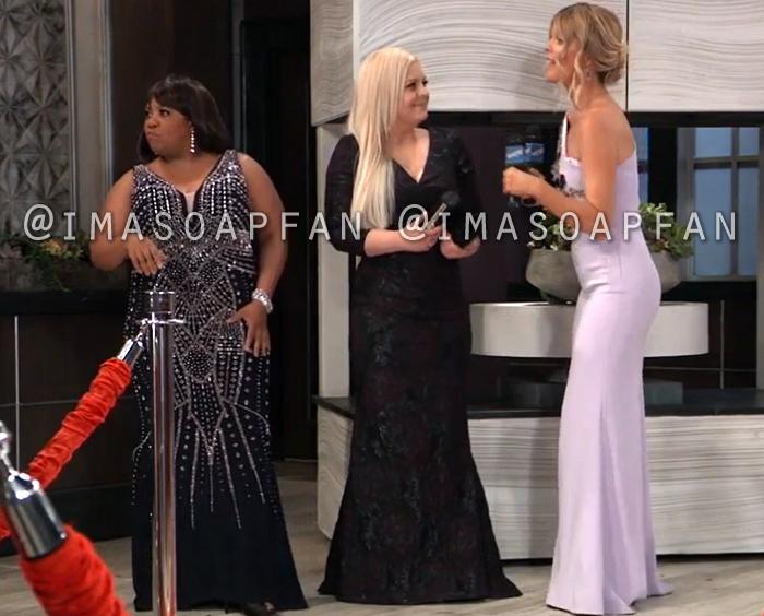 Maxie Jones, Kirsten Storms, Black Floral Jacquard Gown, Dress, Nurses Ball, General Hospital, GH