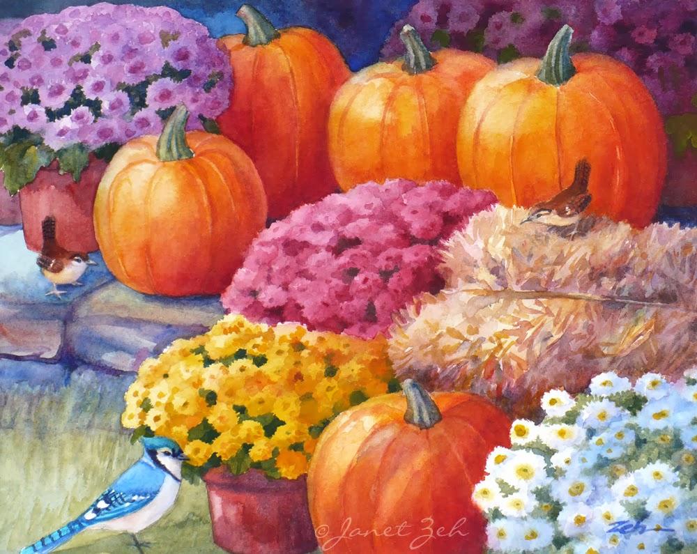 Watercolor of an autumn scene at a garden shop