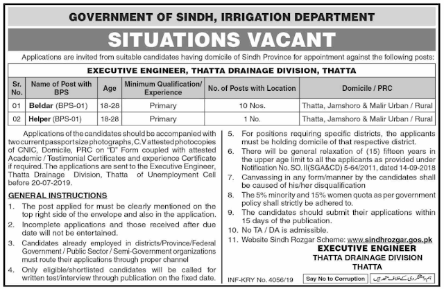 Irrigation Department Government of Sindh Jobs 2019 Latest