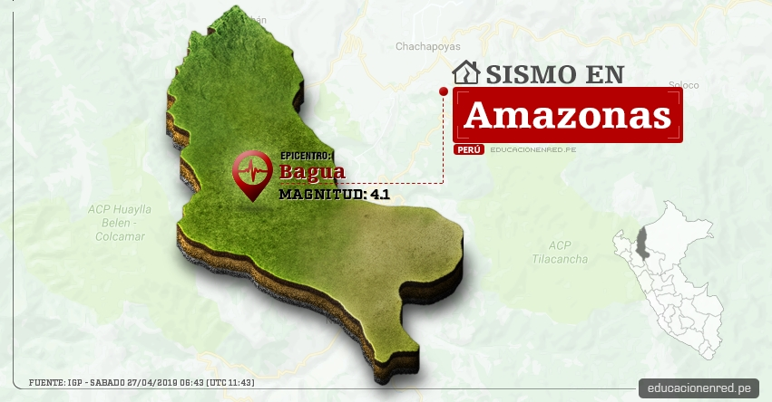 Temblor en Amazonas de Magnitud 4.1 (Hoy Sábado 27 Abril 2019) Sismo Epicentro Bagua - Utcubamba - IGP - www.igp.gob.pe