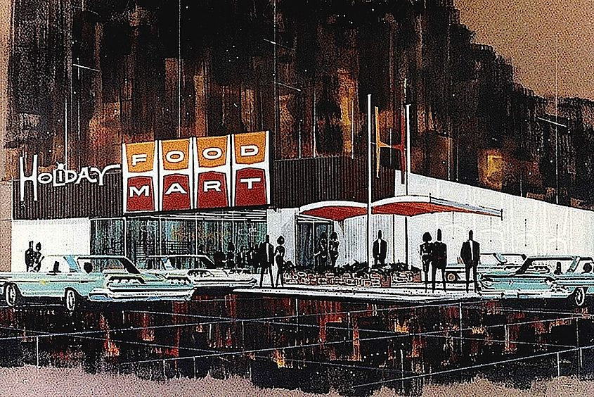 An illustration of Holiday Food Mart 1960s