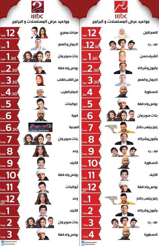 مواعيد مسلسلات قناة ام بي سي مصر في رمضان 2016 المسلسلات المعروضة