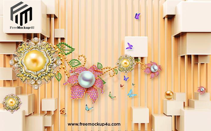 Modern Minimalist 3D Jewelry Background Wall Decors & 3D PSD