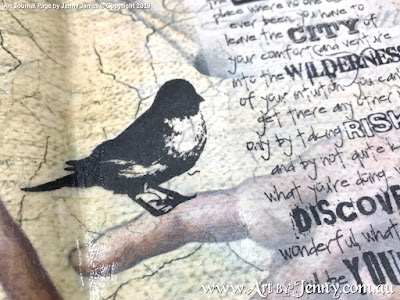 closeup of a bird - art journal page by Jenny James featuring Tim Holtz Stamps