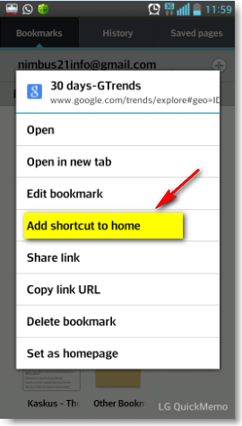 cara bikin shortcut halaman website di homescreen android