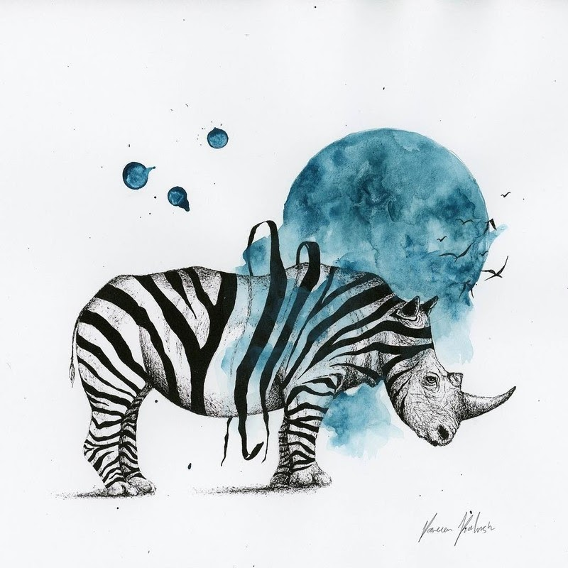 10-Rhino-Zebra-Surreal-Animals-Mostly-Ink-Drawings-www-designstack-co