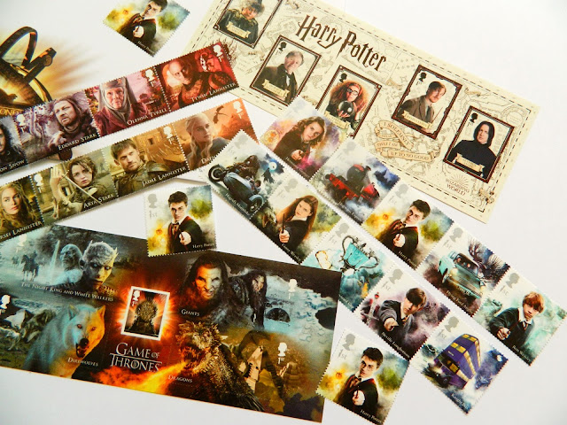 A photo showing a haul of Royal Mail Harry Potter and Game of Thrones Stamps