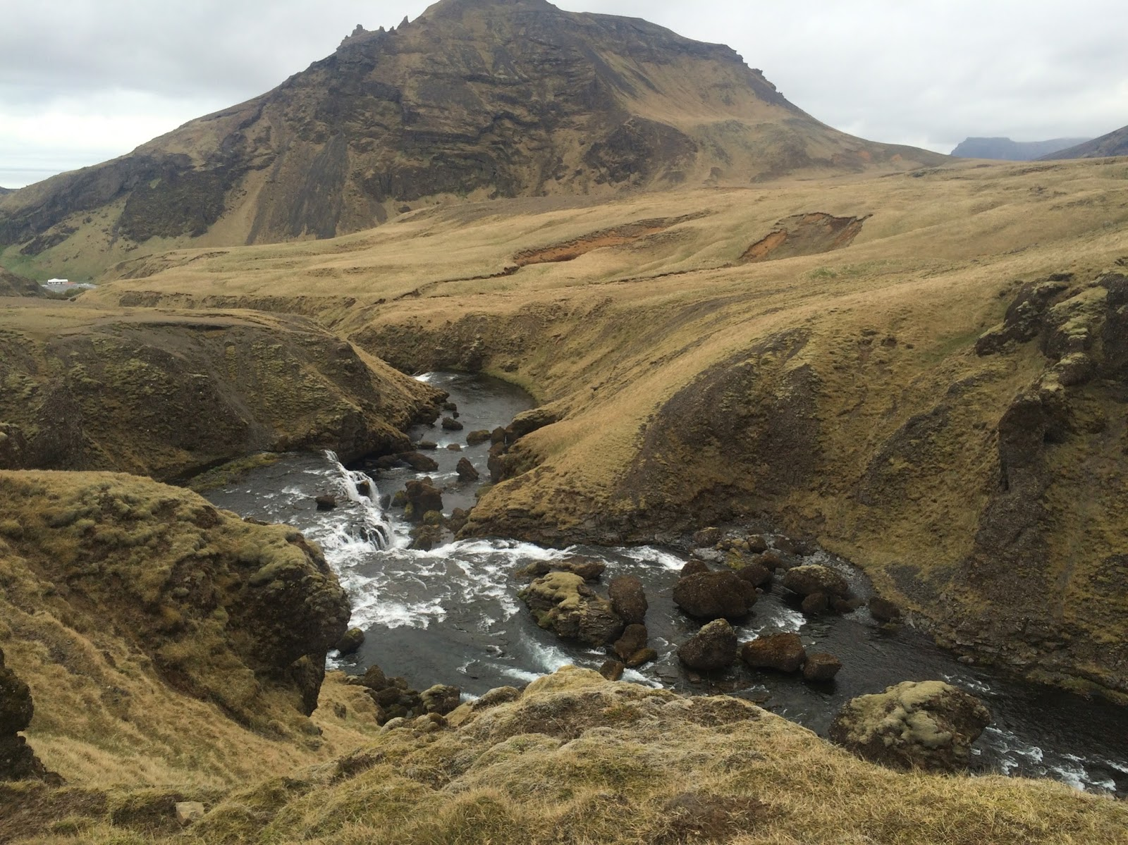 Hiking behind the Skogafoss waterfall in Iceland