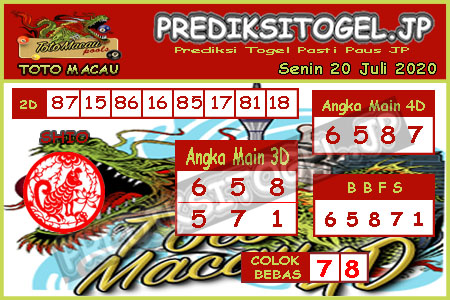 Prediksi Togel Toto Macau JP Senin 20 Juli 2020