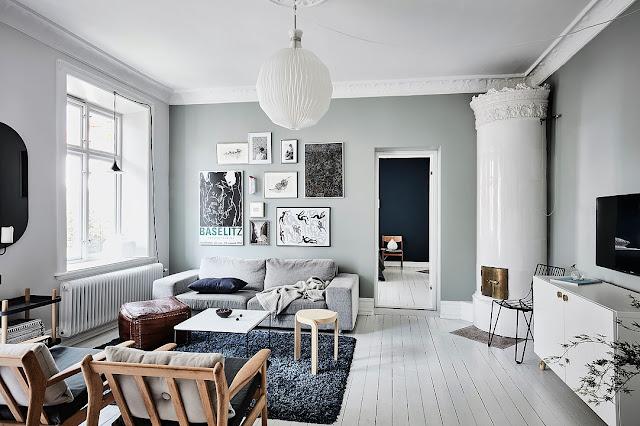 Contemporan scandinav în tonuri de gri și albastru