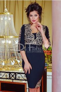 Rochie neagra midi de seara cu model elegant auriu