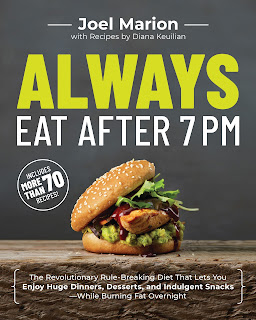 Always Eat After 7pm Joel Marion is a mostly gray book featuring a chicken sandwich with dark reddish brown bbq sauce and leafy greens with a sesame seed bun