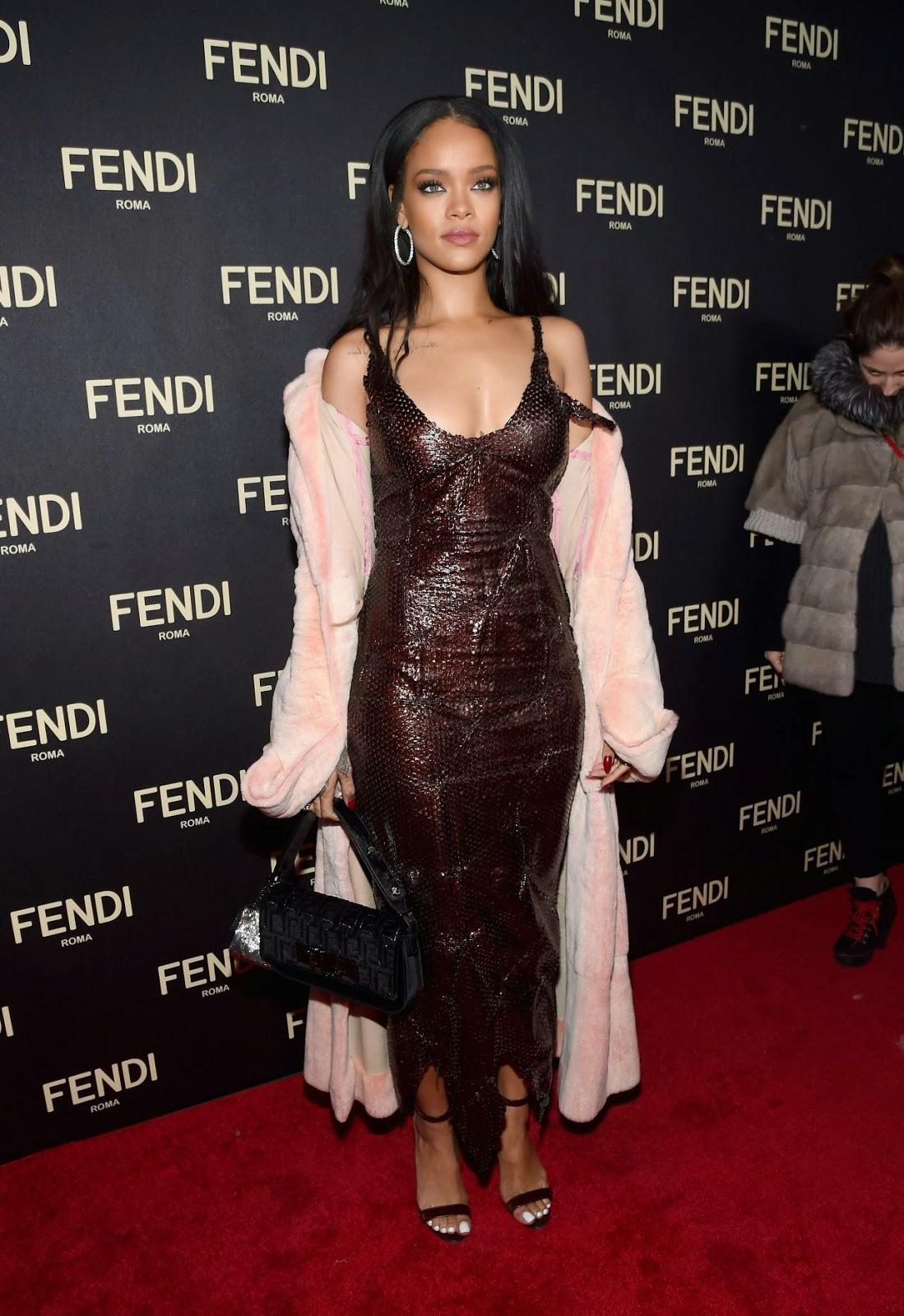 Rihanna In A Slinky Dress At The Fendi New York Flagship