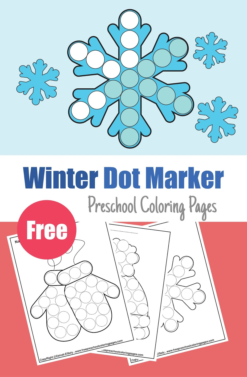 Winter Dot Marker Free Pages For Kids