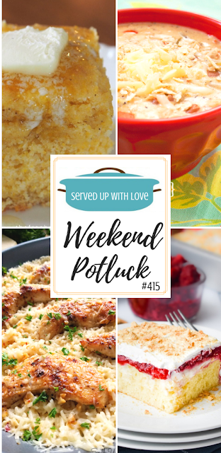 Weekend Potluck featured recipes include Berry Cheesecake Poke Cake, Gayla's Chicken Tortilla Soup, Sweet Buttermilk Cornbread, Chicken Scampi with Garlic Parmesan Rice, and so much more.