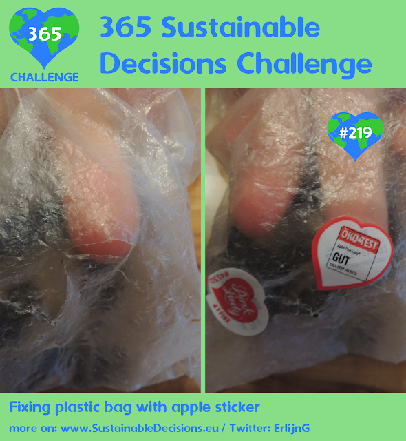 Fixing plastic bag with apple sticker reducing waste reducing plastic waste sustainability sustainable living