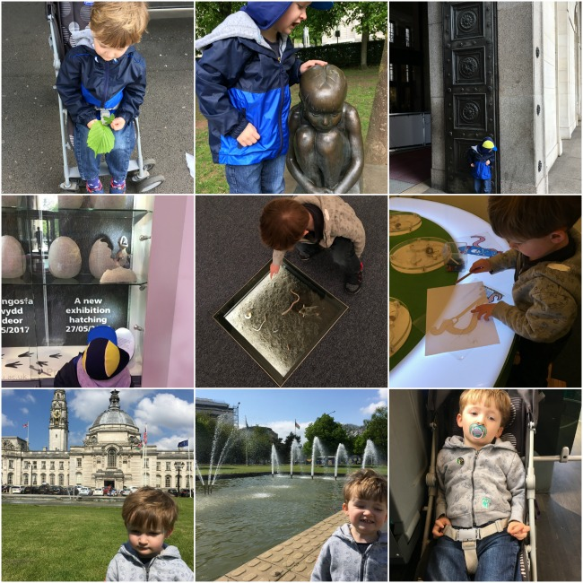 collage-of-toddler-in-national-museum-of-ales-in-cardiff-and-in-gorsedd-gardens-outside