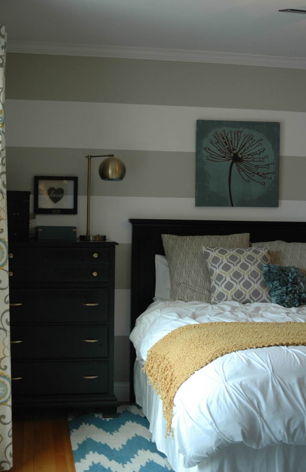 Gray, yellow and blue bedroom