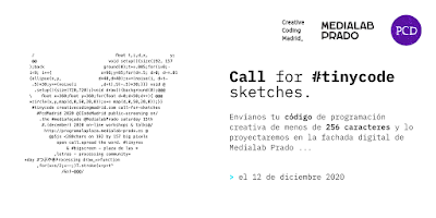 Call for #tinycode sketches by creativecodingmadrid.