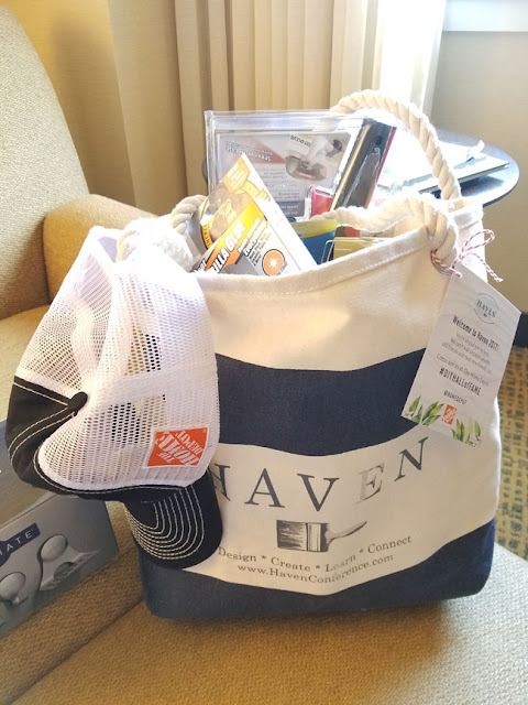 lots of goodies in this navy blue and white swag bag