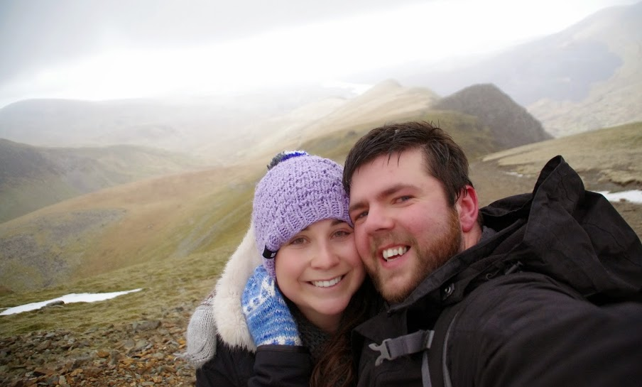 Couple hiking Mt Snowdon in Wales