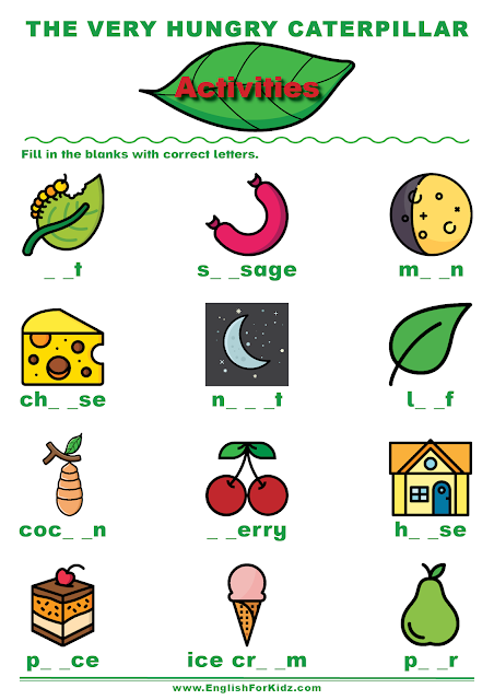 The Very Hungry Caterpillar worksheet to learn English phonics
