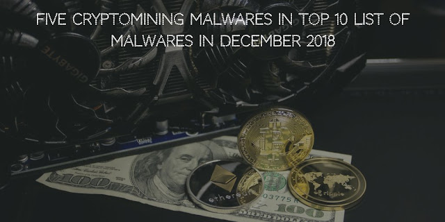 Five Cryptomining Malwares in Top 10 list of Malwares in December 2018