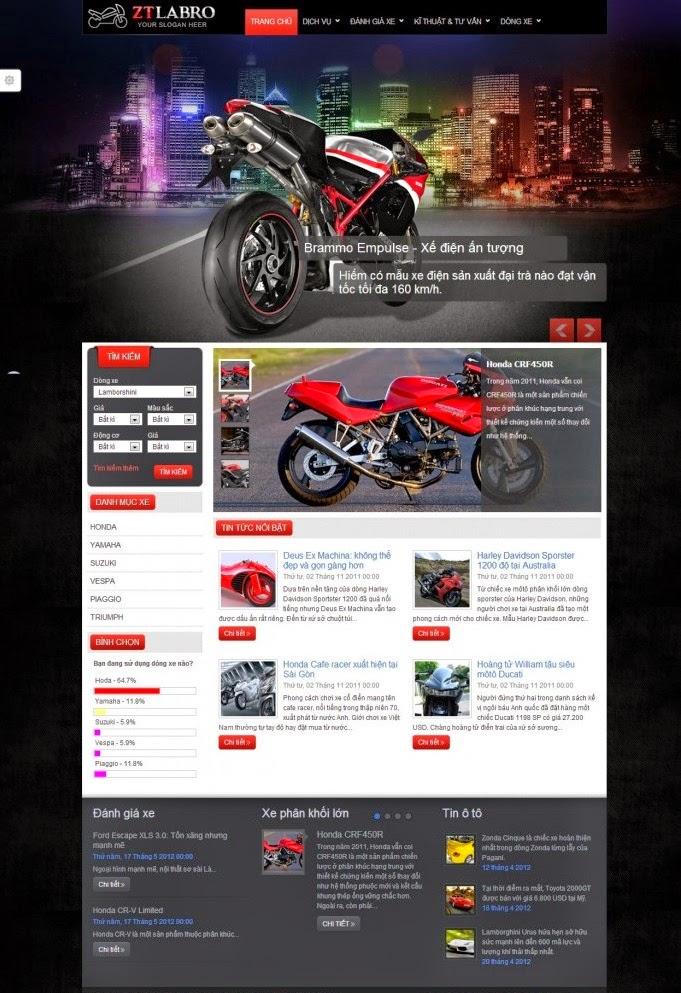 thiết kế website bán hàng xe máy đẹp